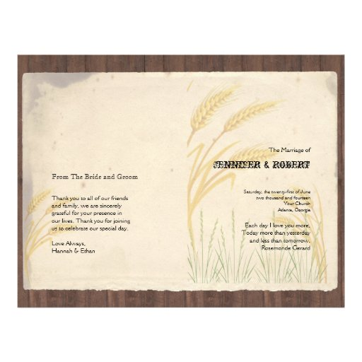 Country Wheat Grass on Parchment Wedding Program Full Color Flyer