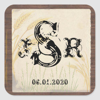 Country Wheat Grass Parchment Monogram Sticker