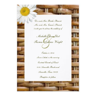 Country Wicker and Daisy Wedding Invitation