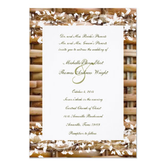 "Country Wicker and White Floral Wedding Invitation 5"" X 7"" Invitation Card"