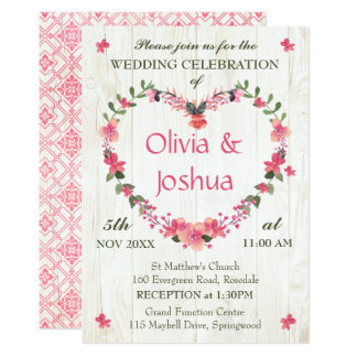 Country Wildflowers Heart Wedding Invitations