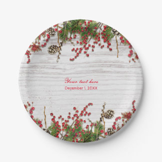 Country Winter Holiday Berries & Pine Cone Wedding Paper Plate