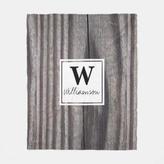 Country Wood Grain Monogrammed Fleece Blanket