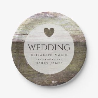 Country Wood Heart Wedding 7 Inch Paper Plate