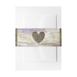 Country Wood Heart Wedding Invitation Belly Band