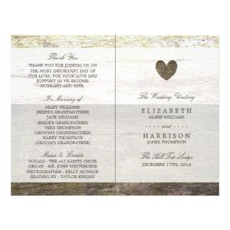 Country Wood Heart Wedding Program 21.5 Cm X 28 Cm Flyer