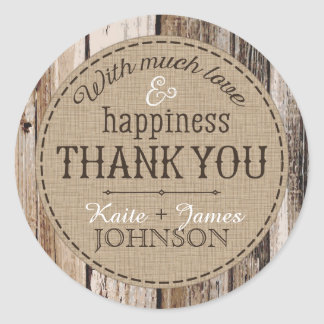 Country Wood Planks Rustic Thank You Wedding Label Round Sticker