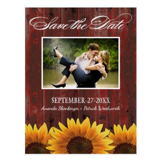 Country Wood Rustic Sunflower Save the Date Cards Postcard