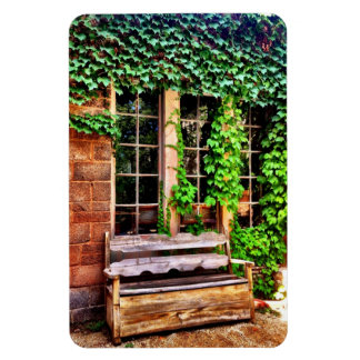 Country Wooden Bench Ivy Vines Flexible Magnet