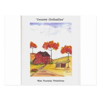 CountryClothesline Original Watercolor Painting Postcard