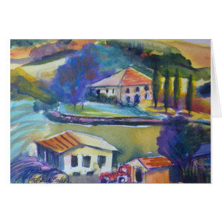 Countryside Farming in Tuscany Blank Greeting Card