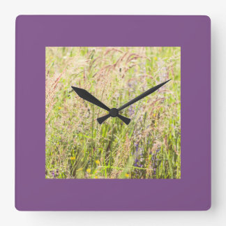 Countryside flowers square wall clock