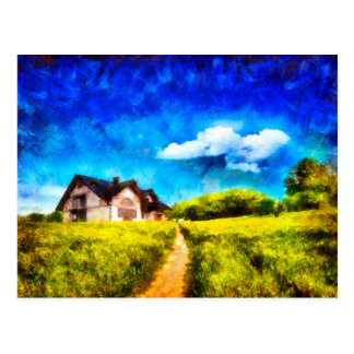 Countryside house oil paint style postcard