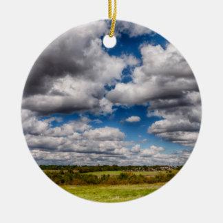 Countryside Skyscape Round Ceramic Decoration