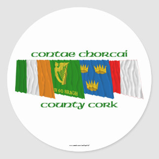 County Cork Flags Classic Round Sticker