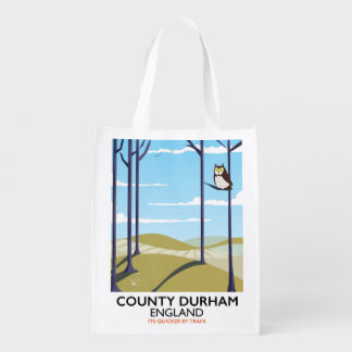 County Durham, England train poster Reusable Grocery Bag