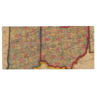 County Map Of Ohio, And Indiana Wood USB 2.0 Flash Drive