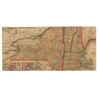 County Map Of The States Of New York Wood USB 2.0 Flash Drive