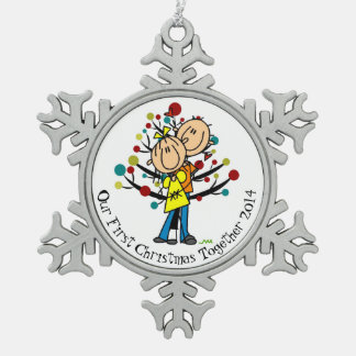 Couple 1st Christmas Together Snowflake Ornament
