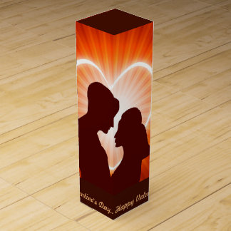 Couple and Glowing heart Wine Bottle Boxes