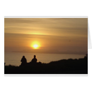 Couple At Beach During Sunset Card