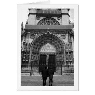 Couple at L'eglise Saint Laurent, Paris, France Card