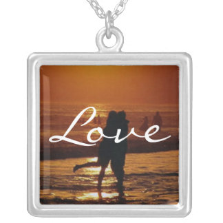 Couple at Sunset Square Pendant Necklace