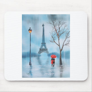 Couple at the Eiffel Tower Paris painting Mouse Pad