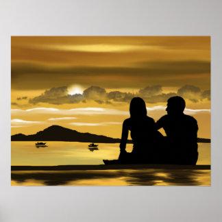 Couple beach romance beautiful scenery poster