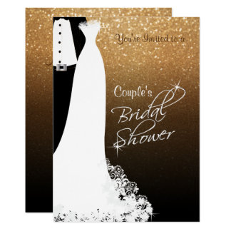 Couple Bridal Shower in Black & Gold Glitter Card