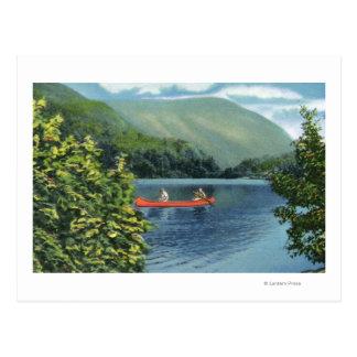 Couple Canoeing on a Lake Postcard