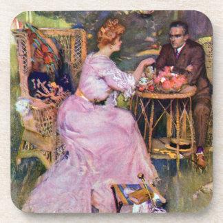 Couple Dining Al Fresco Beverage Coaster