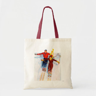 Couple Downhill Skiing Budget Tote Bag