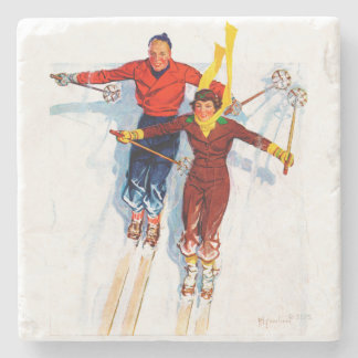 Couple Downhill Skiing Stone Coaster