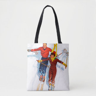 Couple Downhill Skiing Tote Bag