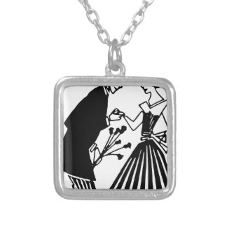 Couple Drawing Silver Plated Necklace