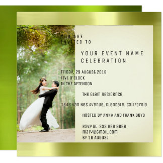 Couple Foto Geometry Greenery Cali Metallic Mint Card