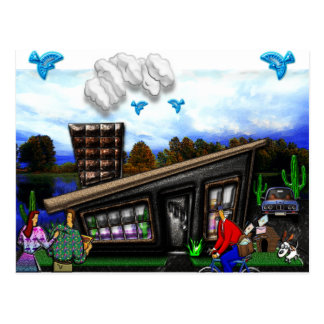 Couple Going Home Rover Jumping Print Postcard