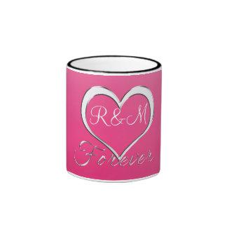 Couple Heart Initials Monogram Ringer Mug