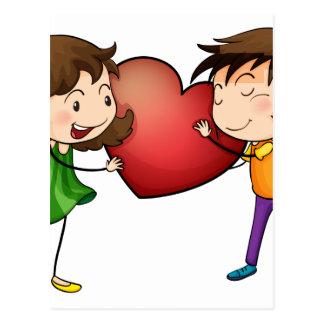 Couple holding a heart postcard