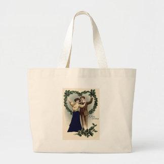 Couple Holly Heart Garland Jumbo Tote Bag