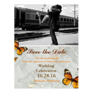 Couple hugging at the station/butterfly theme postcard