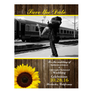 Couple hugging at the station/sunflower theme postcard
