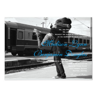 Couple hugging at the station/Wedding Invitation