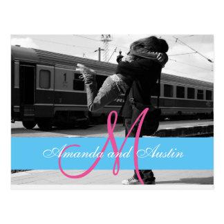 Couple hugging at the station/Wedding Invitation Postcard
