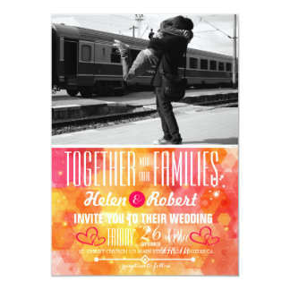 Couple hugging at the train station card