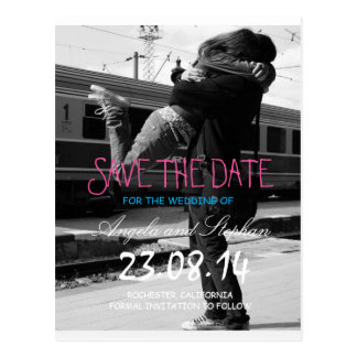 Couple hugging at the train station/Save The Date Postcard