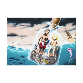 Couple In A Beach Bottle Canvas Print