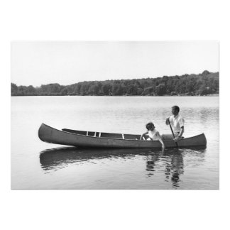 Couple in a Canoe Personalized Announcements