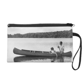 Couple in a Canoe Wristlet Purse